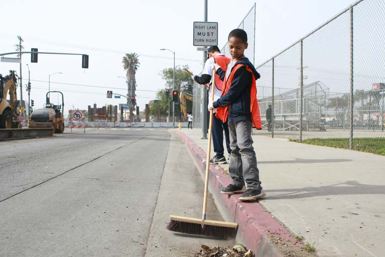 Boy at Van Ness Recreation Center Clean Up