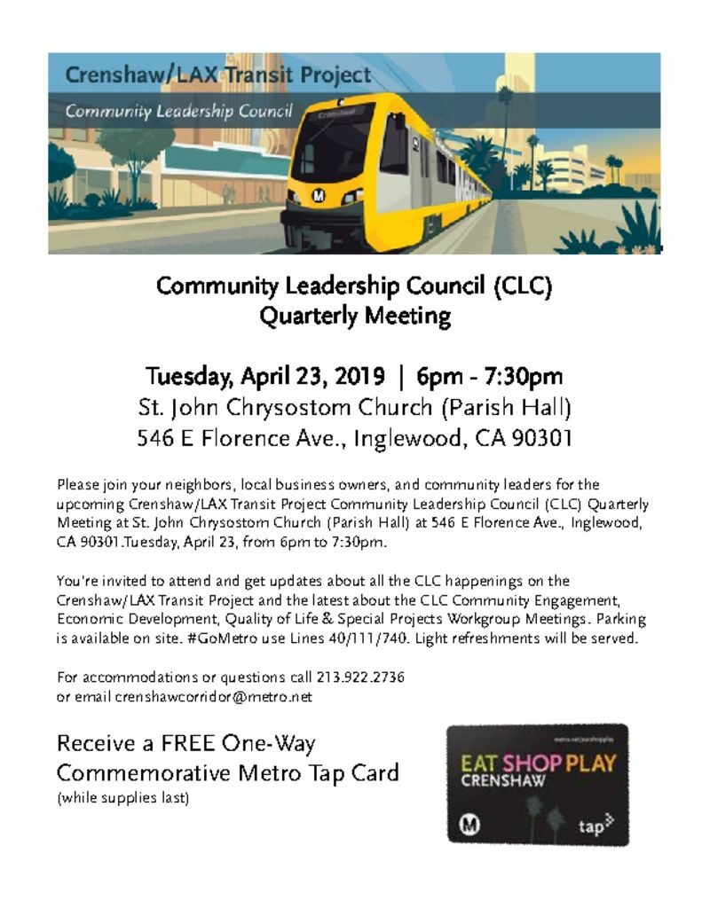 Crenshaw Transit Project Community Leadership Council