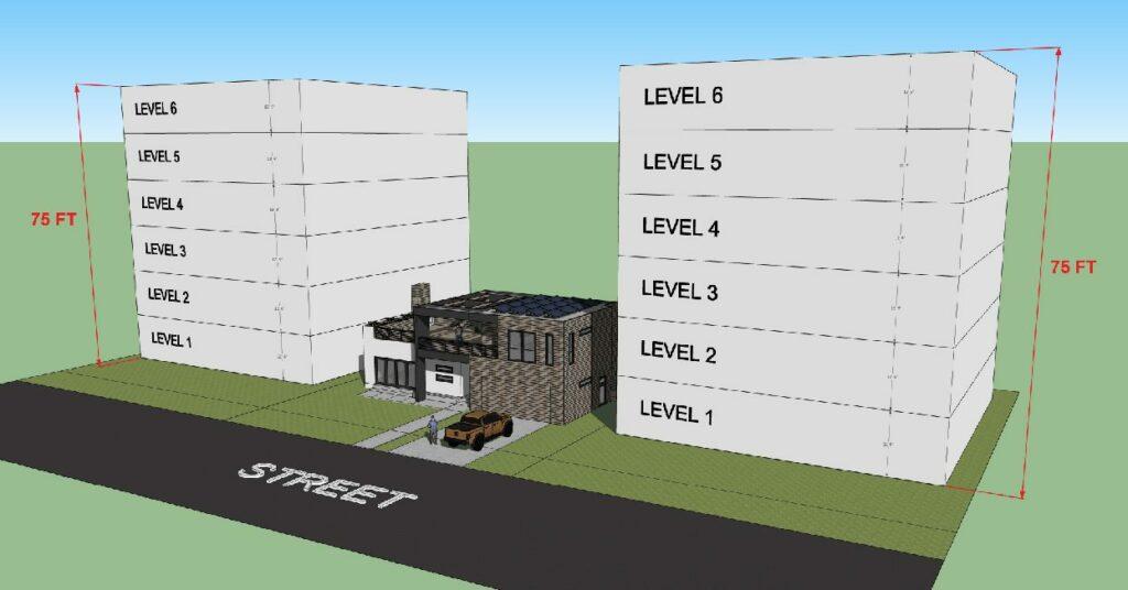 rendering of house between two 6 story buildings