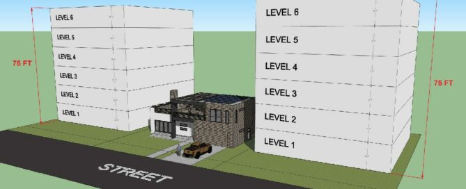 rendering of house between two 6 story buildings