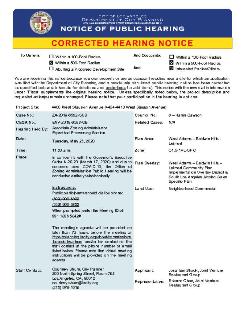 thumbnail of ZA-2019-6582-CUB Corrected Virtual Hearing Notice