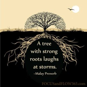 tree with strong roots laughs at storms