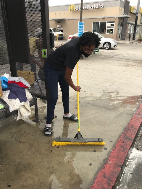 cleaning up bus stop